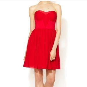 ERIN Anthropologie red dress strapless prom